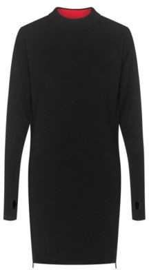 HUGO BOSS Wool-blend knitted dress with side zips