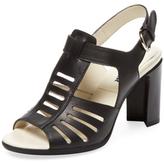 Jil Sander Navy Cut-Out Mid Heel Leather Sandal