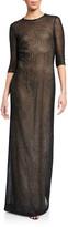 St. John Metallic Diamond Lace Knit 3/4-Sleeve Gown