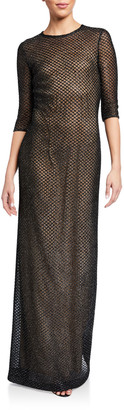 St. John Metallic Diamond Lace Knit 3/4-Sleeve Gown