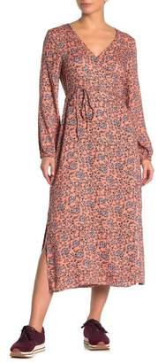Cotton On Floral Print Long Sleeve Midi Wrap Dress