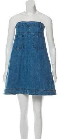 Chanel Strapless Denim Mini Dress