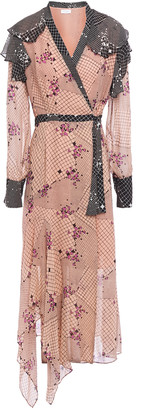 Hofmann Copenhagen Helene Asymmetric Printed Chiffon Midi Wrap Dress