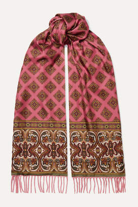 Etro Fringed Paisley-print Cashmere And Silk-twill Scarf - Red
