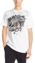 Southpole Men's Foil and Screen Print Graphic T-Shirt with Plaid Backgrounds