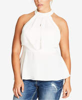 City Chic Trendy Plus Size Peek-A-Boo Lace Halter Top