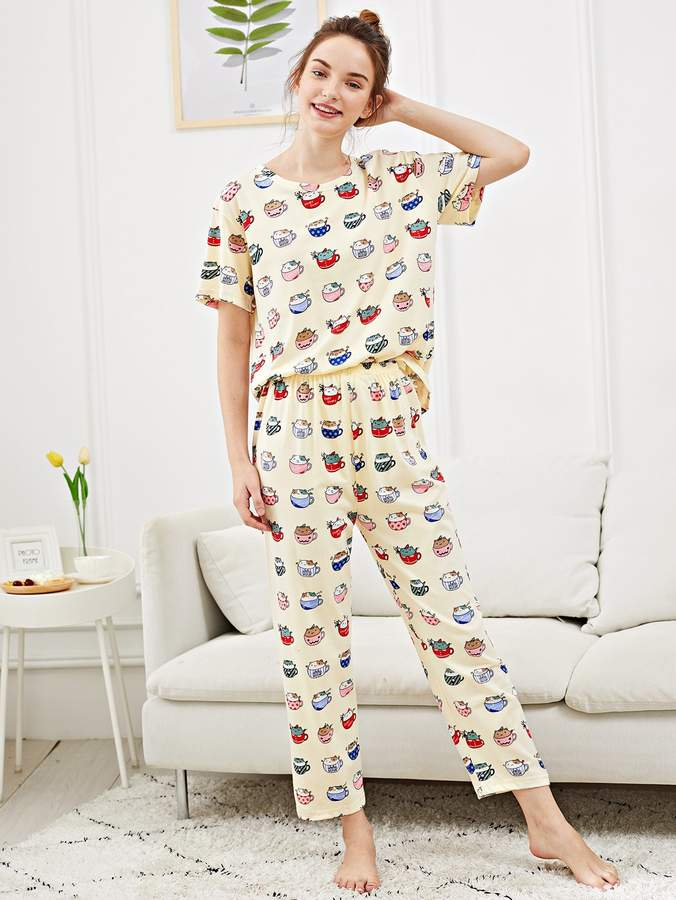 All Over Cat Print Pajama Set