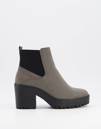 New Look heeled chunky chelsea boot in mid grey