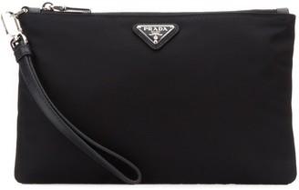 Prada Logo Plaque Clutch Bag
