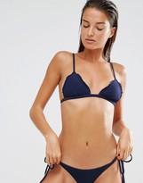 Beach Riot Navy Shirred Traingle Bikini Top