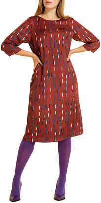 Marina Rinaldi Plus Size Danzante Abstract Printed Twill Shift Dress