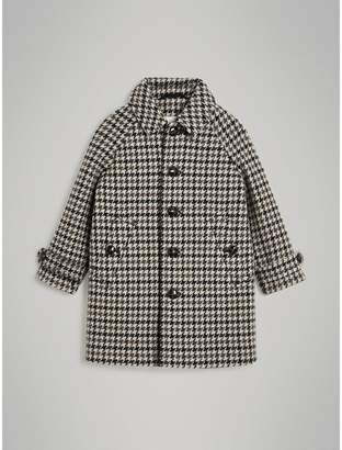 Burberry Childrens Houndstooth Check Wool Cashmere Blend Coat