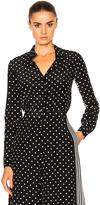 Stella McCartney Silk Polka Dot Blouse in Black,Stripes, Geometric Print.