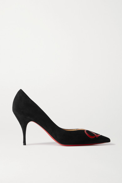 Christian Louboutin Cl 80 Patent Leather-trimmed Suede Pumps - Black