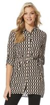F&F Geo Print Long Line Shirt, Women's