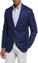 Peter Millar Large Windowpane Wool Soft Sport Jacket, Navy