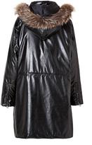 Faith Connexion Down Coat with Raccon-Fur Collar in Black