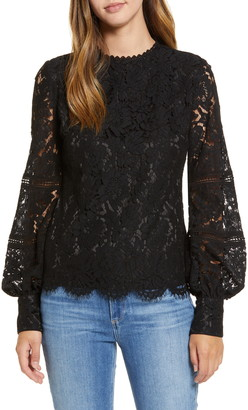 Rachel Parcell Bishop Sleeve Scalloped Lace Top