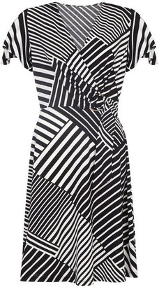 Yumi Curves Multi Diagonal Stripe Wrap Dress