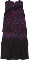 Markus Lupfer Tiered Ruffled Leopard-print Silk-georgette Dress - Purple