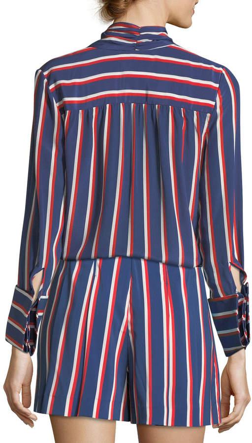 Alice + Olivia Arie Tie-Cuffs Striped Silk Long-Sleeve Top