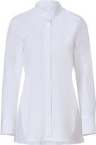 Jil Sander White Cotton Stand-Up Collar Blouse