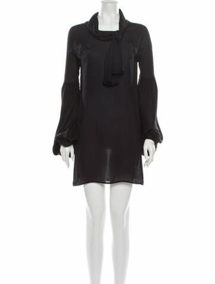 Johanna Ortiz Cowl Neck Mini Dress Black