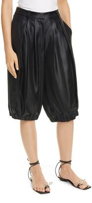 Tibi Celia Pleated High Waist Faux Leather Shorts