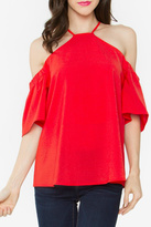 Sugar Lips Red Cold-Shoulder Top