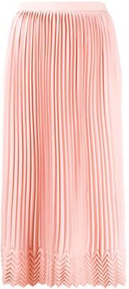 Marco De Vincenzo Chevron-Pattern Pleated Midi Skirt