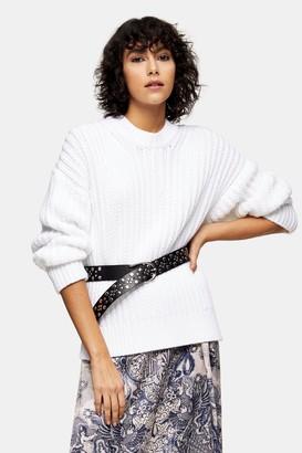 Topshop IDOL Ivory Split Side Fisherman Sweater