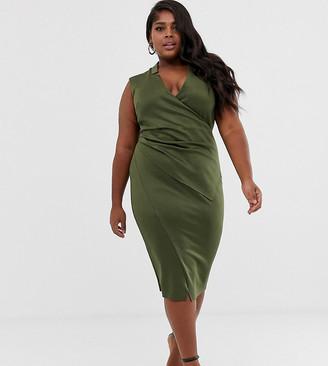Asos DESIGN Curve wrap collared pencil midi dress