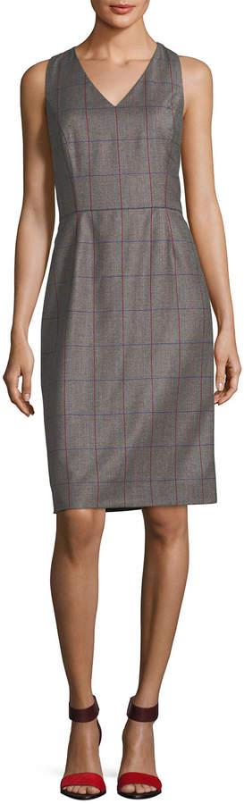 Carolina Herrera Plaid Wool V-Neck Sleeveless Dress