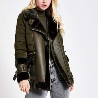 River Island Womens Khaki faux fur trim puffer coat