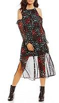 1 STATE Printed Cold Shoulder Midi Dress