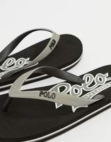 Polo Ralph Lauren Wittlebury Flip Flops Logo In Black/Grey