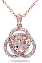 Concerto Morganite and Diamond Pink Sterling Silver Orbit Pendant Necklace