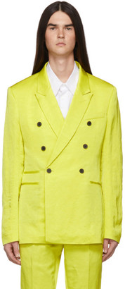Haider Ackermann Yellow Linen Double-Breasted Blazer