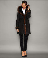 The Fur Vault Mink-Fur-Trim Hooded Shearling Lamb Coat