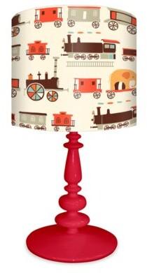 "Oopsy Daisy Fine Art For Kids Bear Choo Choo 21"" Table Lamp Base Color: Red"