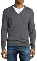 Burberry Dockley Wool V-Neck Sweater, Mid-Gray Melange