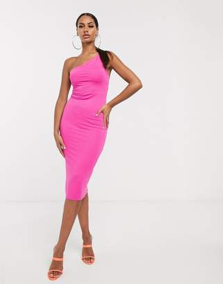 Asos Design DESIGN going out one shoulder bodycon midi dress-Pink