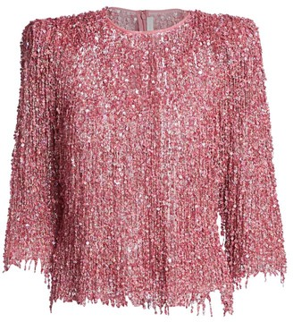 Naeem Khan Sequin Fringe Quarter-Sleeve Top