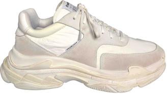 Balenciaga Triple S White Suede Trainers