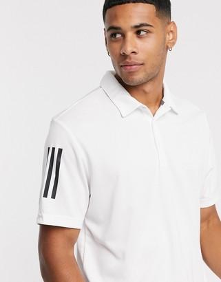 adidas three stripe polo in white