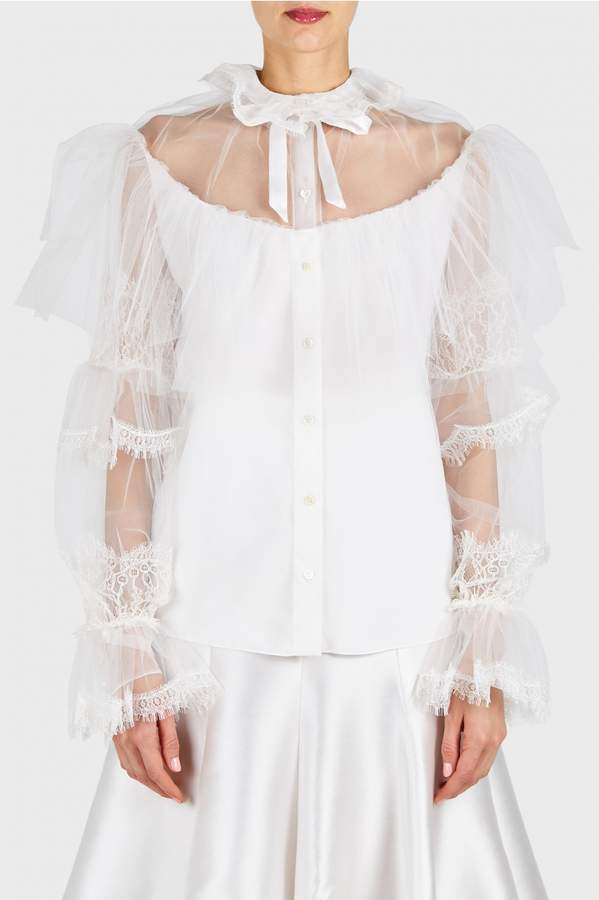 Alexis Mabille Long Sleeve Tulle Shirt