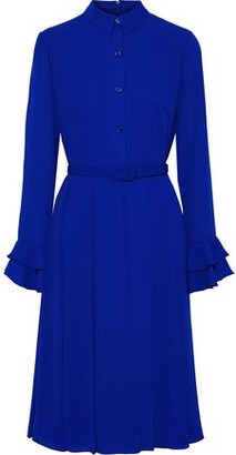 Mikael Aghal Belted Pleated Crepe Dress