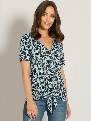 M&Co Butterfly print button tie front top