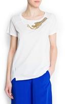 MANGO Beaded embellishment cotton t-shirt