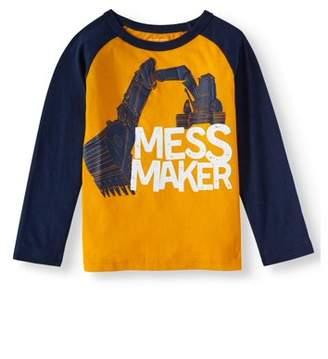 Children's Place The Long Sleeve Raglan 'Mess Maker' Bulldozer Graphic Crew Neck T-Shirt (Baby Boys & Toddler Boys)